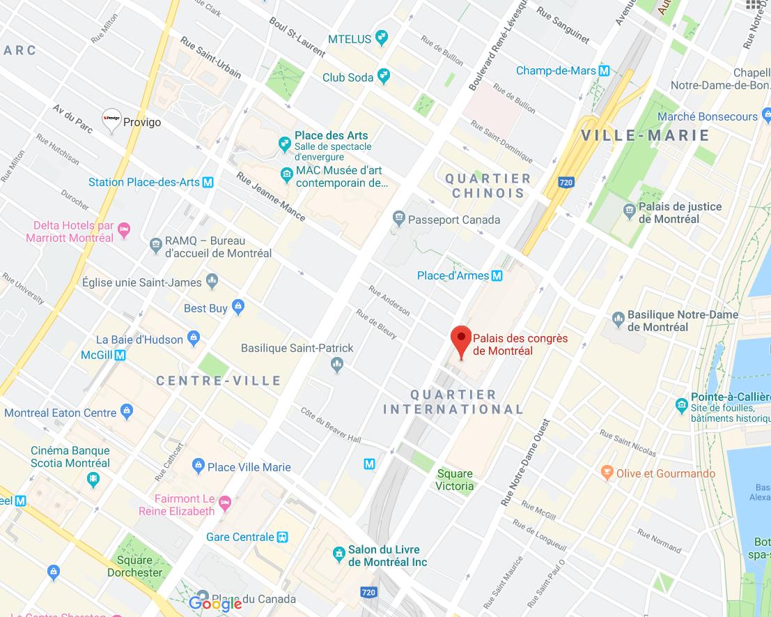 Direction vers Palais des congrès de Montréal