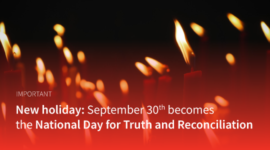New holiday: September 30th becomes the National Day for Truth and Reconciliation