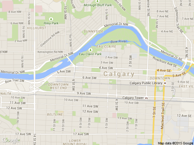 Calgary's office map